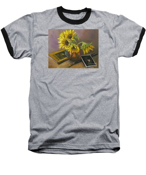 Baseball T-Shirt featuring the painting Sargent And Sunflowers by Lisa  Spencer