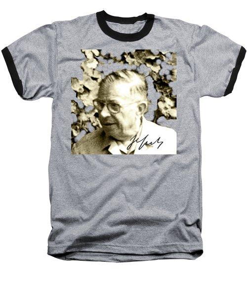 Sartre Baseball T-Shirt by Asok Mukhopadhyay