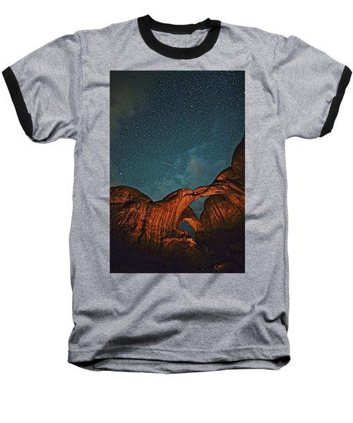 Satellites Crossing In The Night Baseball T-Shirt
