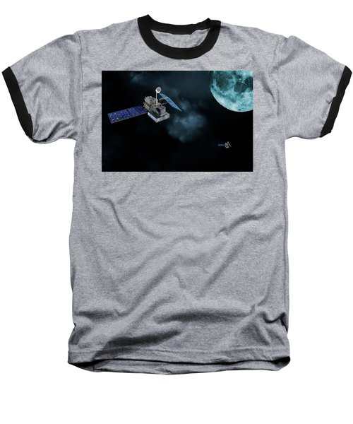Satellites In Orbit Around The Moon Baseball T-Shirt by Christian Lagereek
