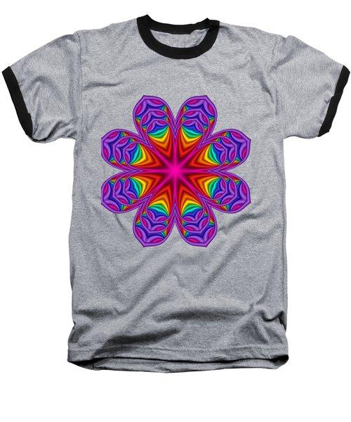 Satin Fractal Flower 3 Baseball T-Shirt