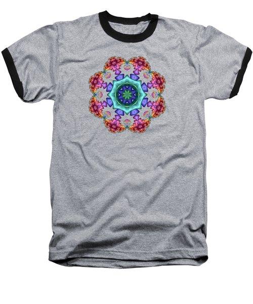 Satin Rainbow Fractal Flower I Baseball T-Shirt