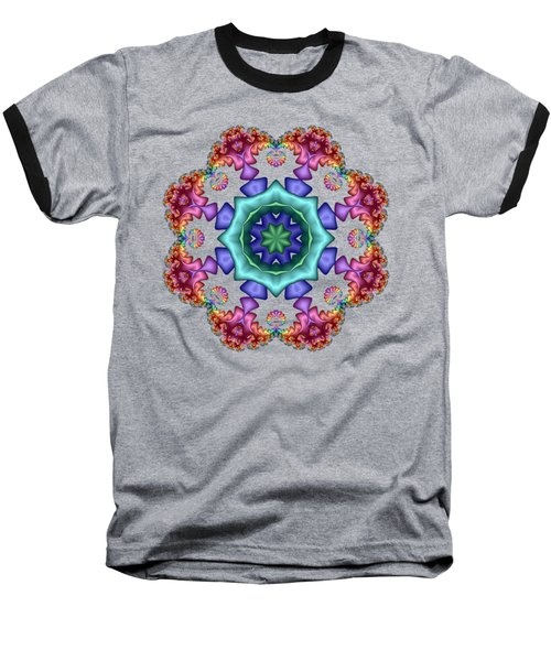 Satin Rainbow Fractal Flower I Baseball T-Shirt