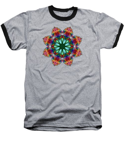 Satin Rainbow Fractal Flower II Baseball T-Shirt