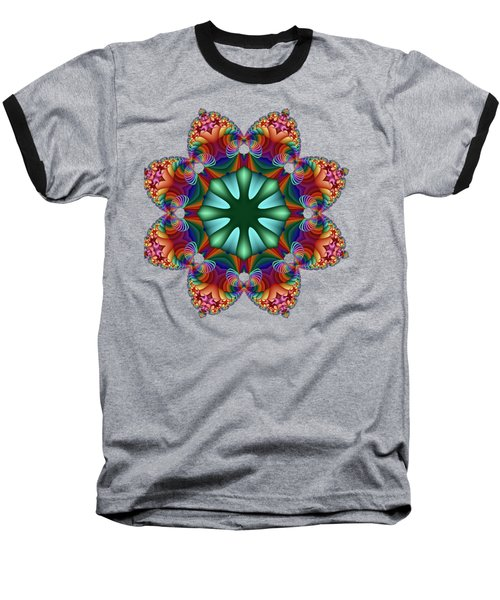 Satin Rainbow Fractal Flower II Baseball T-Shirt