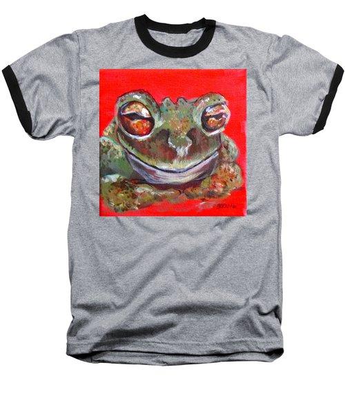 Satisfied Froggy  Baseball T-Shirt by Barbara O'Toole