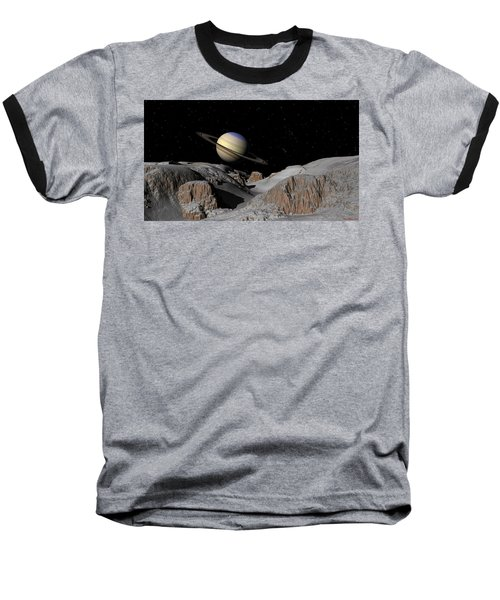 Saturn From The Moon Dione Baseball T-Shirt