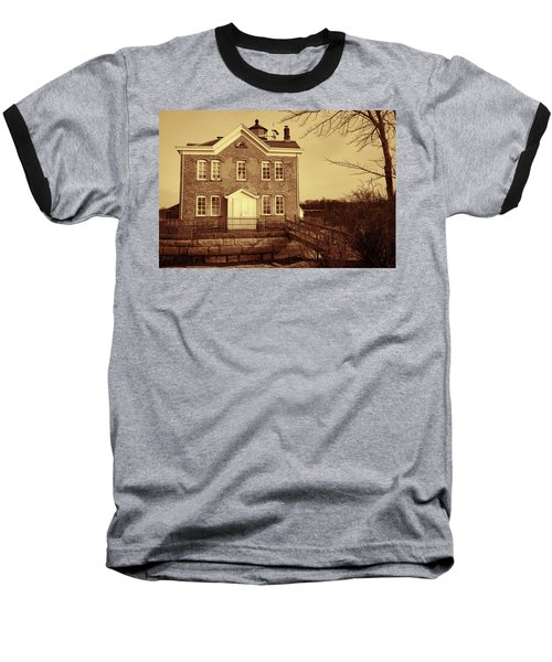 Baseball T-Shirt featuring the photograph Saugerties Lighthouse Sepia by Nancy De Flon