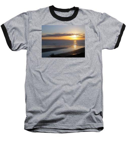 Saunton Sands Sunset Baseball T-Shirt by Richard Brookes