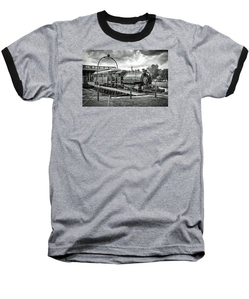 Savannah Central Steam Engine On Turn Table Baseball T-Shirt by Scott Hansen