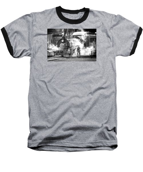 Savannah Central Steam Locomotive Baseball T-Shirt by Scott Hansen