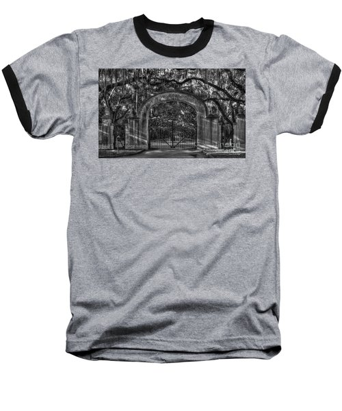Baseball T-Shirt featuring the photograph Savannah's Wormsloe Plantation Gate Bw Live Oak Alley Art by Reid Callaway