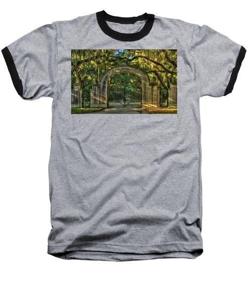Baseball T-Shirt featuring the photograph Savannah's Wormsloe Plantation Gate Live Oak Alley Art by Reid Callaway