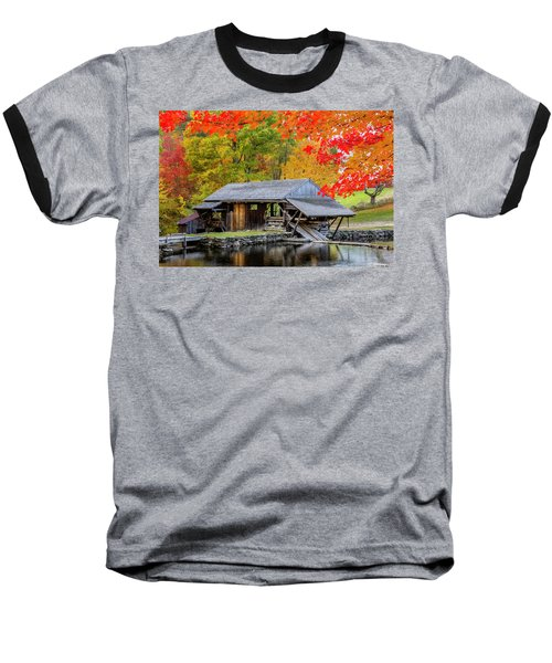 Sawmill Reflection, Autumn In New Hampshire Baseball T-Shirt by Betty Denise