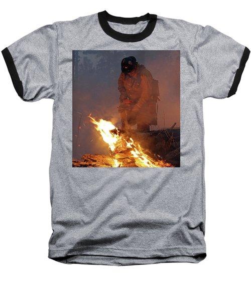Sawyer, North Pole Fire Baseball T-Shirt by Bill Gabbert
