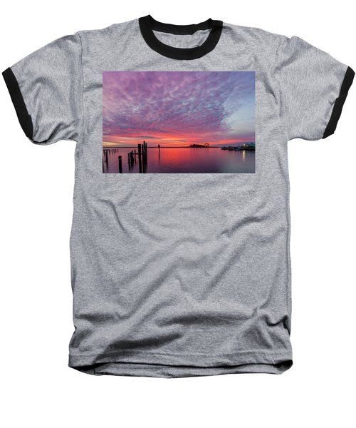 Saxis Sunset Baseball T-Shirt by David Cote