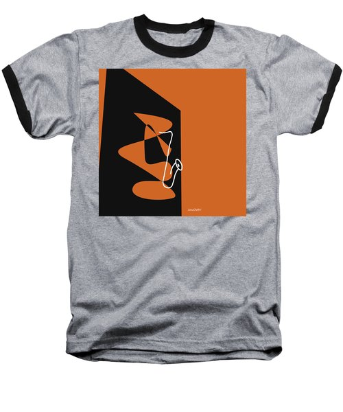 Saxophone In Orange Baseball T-Shirt by David Bridburg