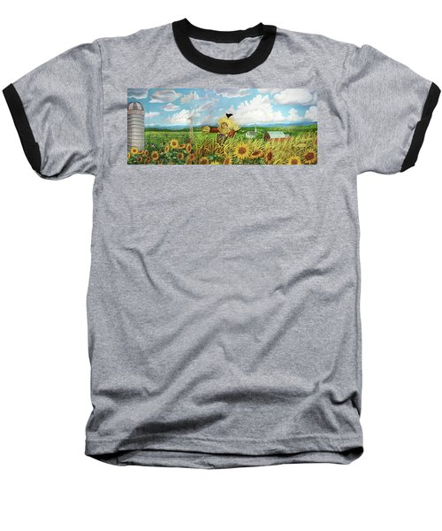 Scare Crow And Silo Farm Baseball T-Shirt by Bonnie Siracusa
