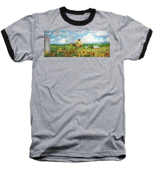 Scare Crow And Silo Farm Baseball T-Shirt