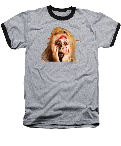 Scared Halloween Monster With Nail Through Head Baseball T-Shirt