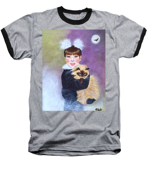 Scaredy Cat Hallows Eve Baseball T-Shirt
