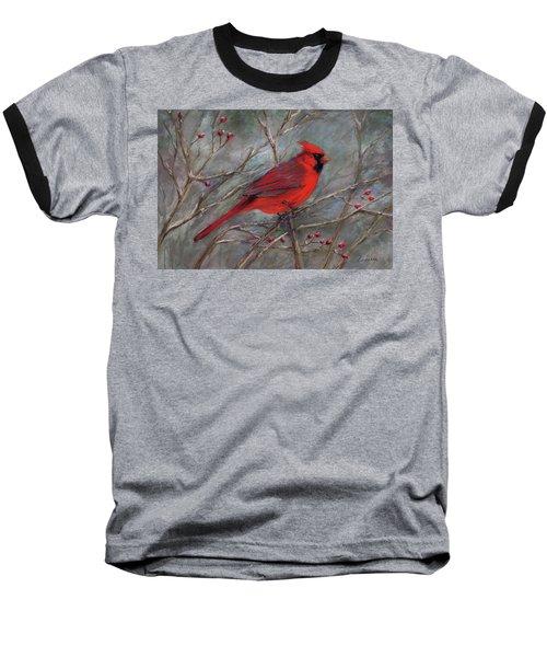 Scarlet Sentinel Baseball T-Shirt by Vikki Bouffard