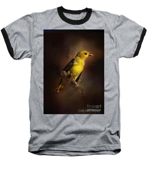 Scarlet Tanager Baseball T-Shirt by Kathy Russell