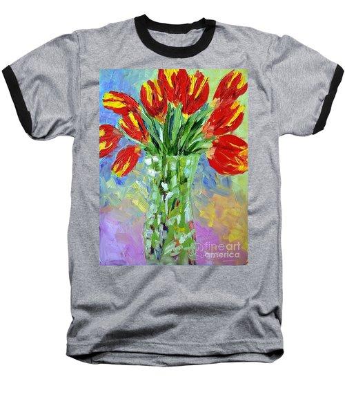 Scarlet Tulips Baseball T-Shirt by Lynda Cookson