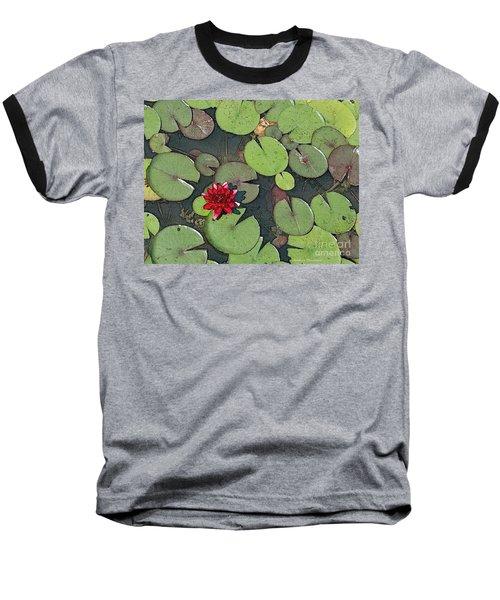 Scarlet Waterlily Baseball T-Shirt