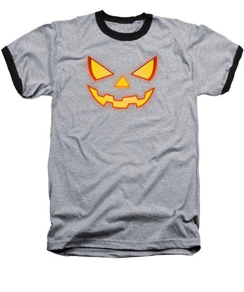 Scary Halloween Horror Pumpkin Face Baseball T-Shirt