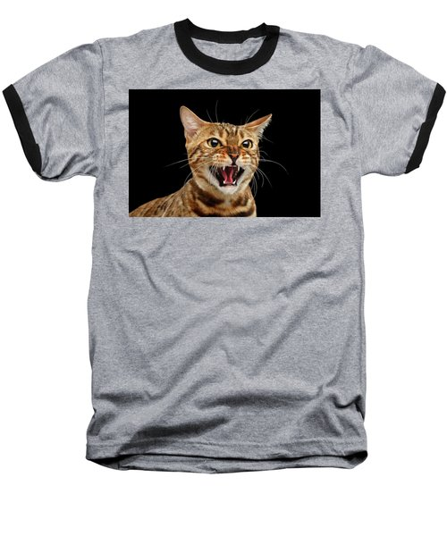 Scary Hissing Bengal Cat On Black Background Baseball T-Shirt