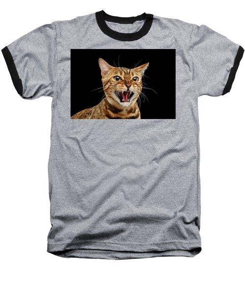 Scary Hissing Bengal Cat On Black Background Baseball T-Shirt
