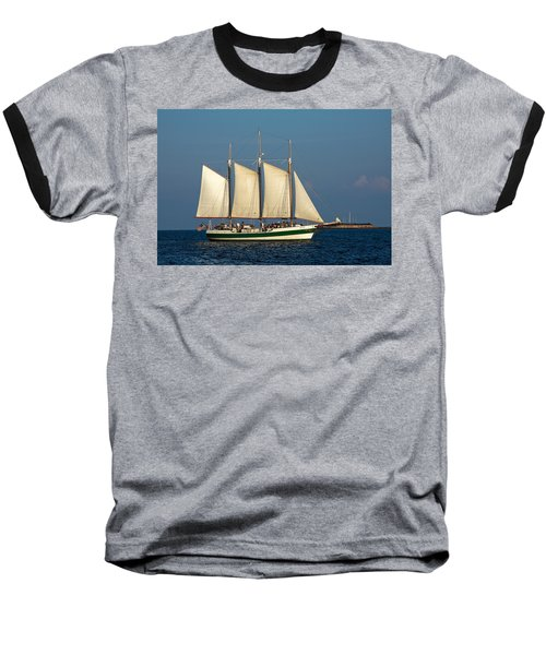 Schooner By Fort Sumter Baseball T-Shirt by Sally Weigand