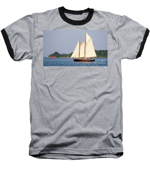 Schooner Cruise, Casco Bay, South Portland, Maine  -86696 Baseball T-Shirt by John Bald