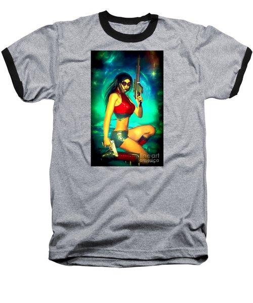 Sci-fi Brunette With Two Guns Baseball T-Shirt