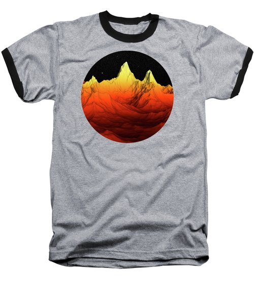 Sci Fi Mountains Landscape Baseball T-Shirt by Phil Perkins