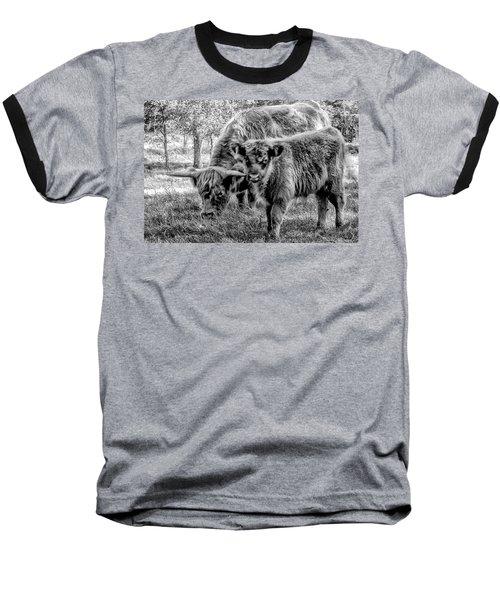 Scottish Highland Cattle Black And White Baseball T-Shirt