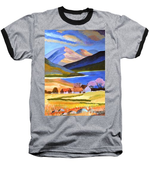Baseball T-Shirt featuring the painting Scottish Highlands 2 by Magdalena Frohnsdorff