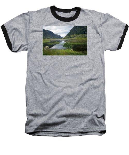 Scottish Tranquility Baseball T-Shirt by Dubi Roman