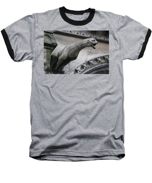 Baseball T-Shirt featuring the photograph Screaming Griffon Notre Dame Paris by Christopher Kirby