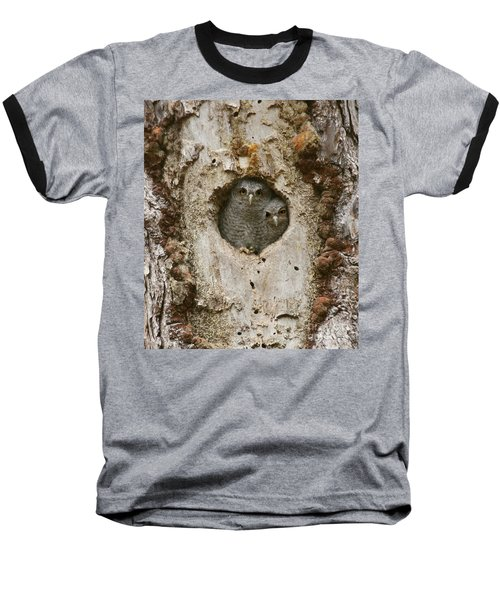 Screech Owl Babies Peeking Out Baseball T-Shirt