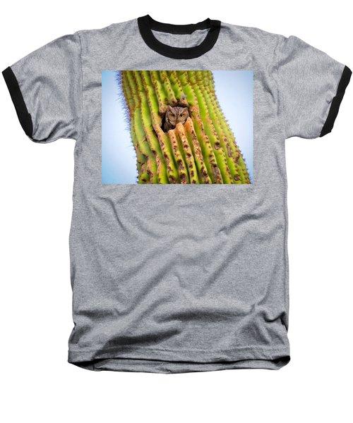 Screech Owl In Saguaro Baseball T-Shirt