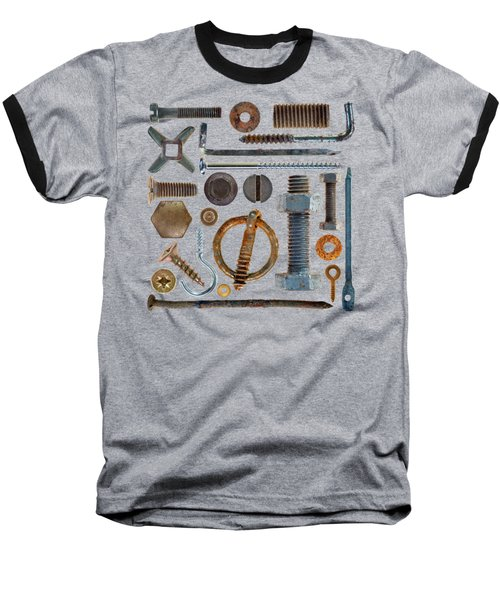 Screws, Nuts Bolts And Hooks On Transparent Background Baseball T-Shirt