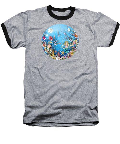 Sculpted Mermaid Sea World Baseball T-Shirt