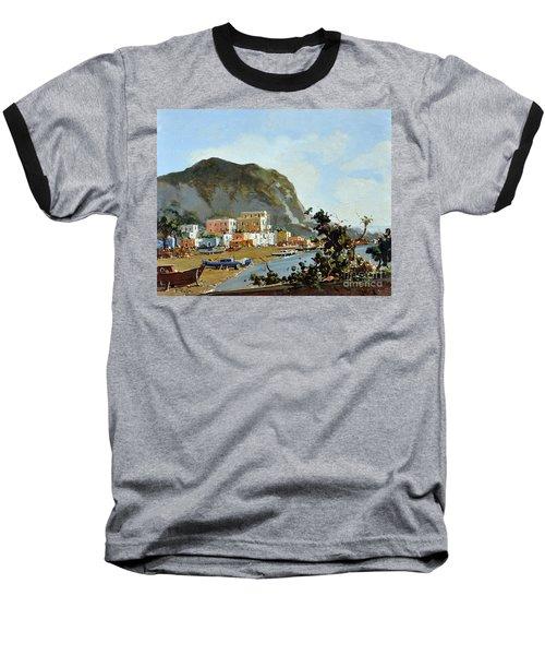Sea And Mountain With Boats Baseball T-Shirt