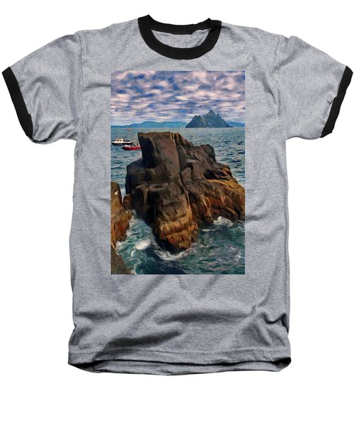 Baseball T-Shirt featuring the painting Sea And Stone by Jeff Kolker