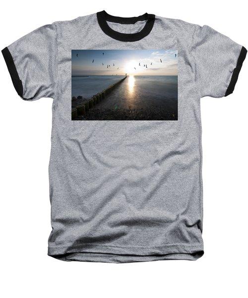 Sea Birds Sunset. Baseball T-Shirt