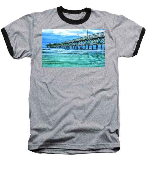 Sea Blue Cherry Grove Pier Baseball T-Shirt