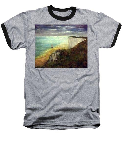 Sea, Cliffs, Beach And Lighthouse Baseball T-Shirt