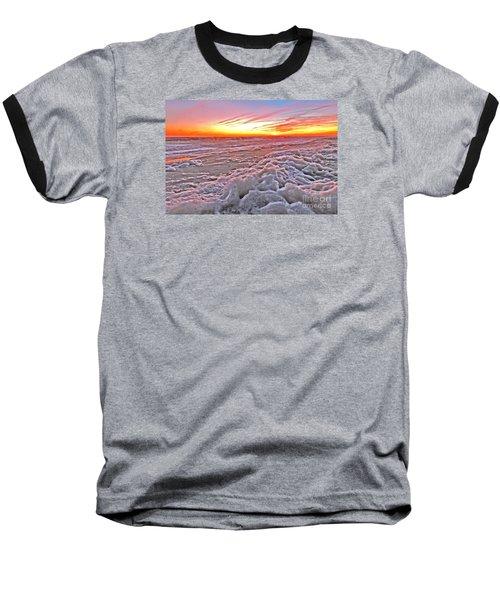 Sea Foam Sunset Baseball T-Shirt by Shelia Kempf
